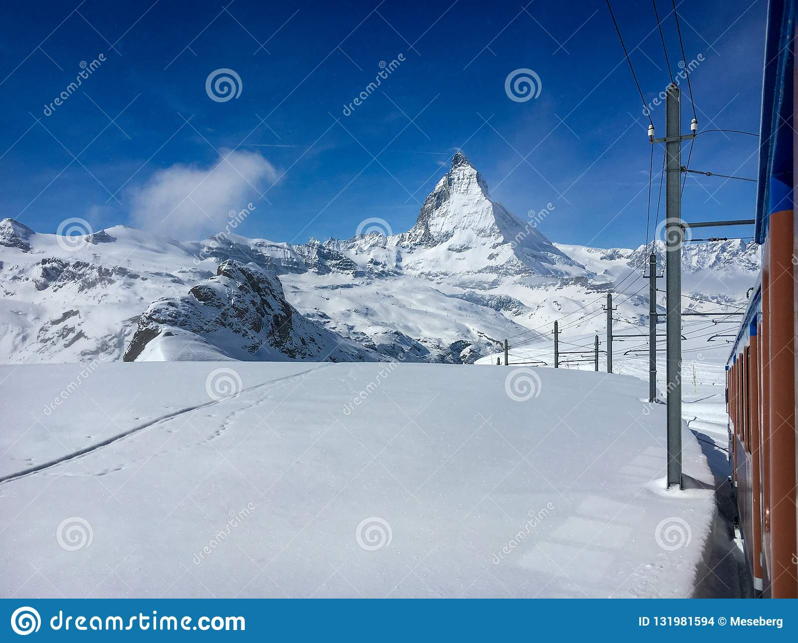 Matterhorn mountain and alpine landscape with Gornergrat railway