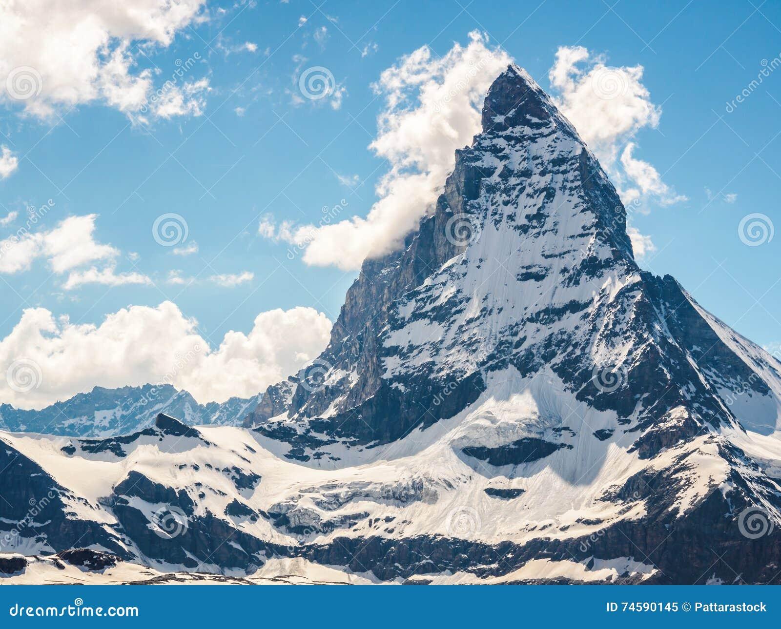 Matterhorn peak in sunny day view from gornergrat train station