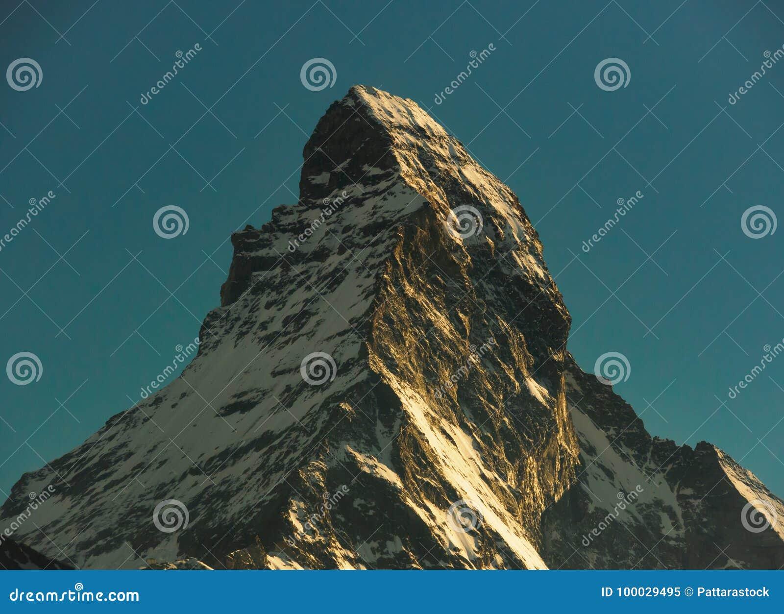 Matterhorn peak during sunset, view from gornergrat train station, Zermatt, Switzerland.