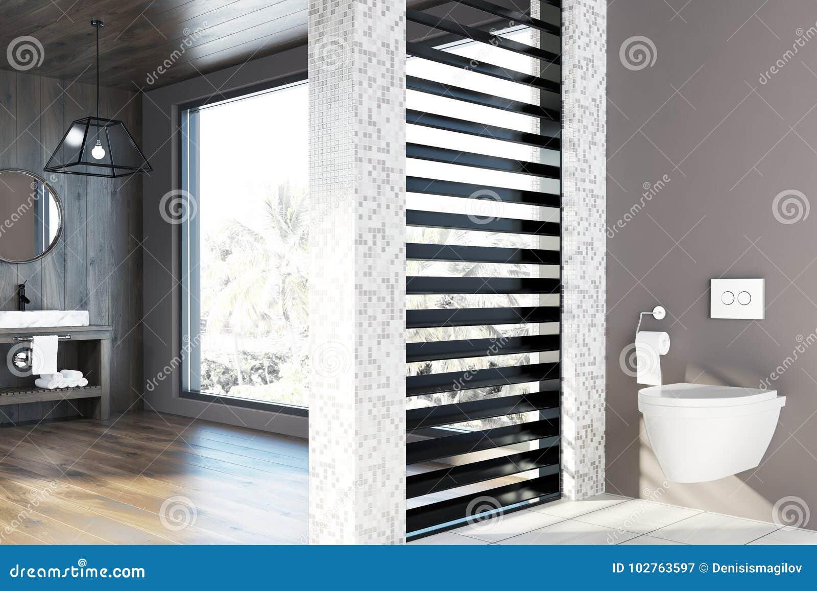 Mattonelle bianche e bagno di legno lavandino toilette