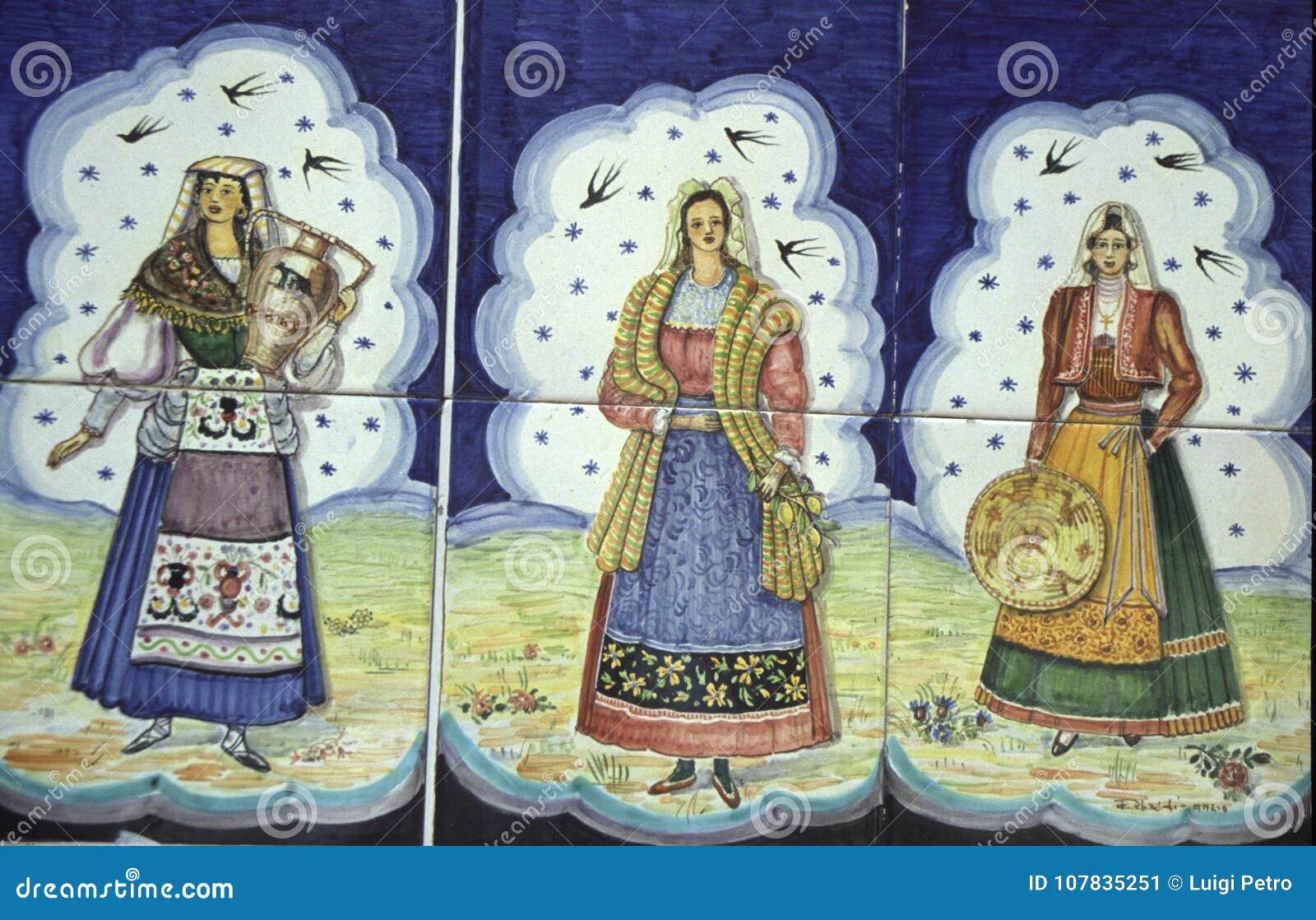 Mattonelle che descrivono le donne siciliane illustrazione di