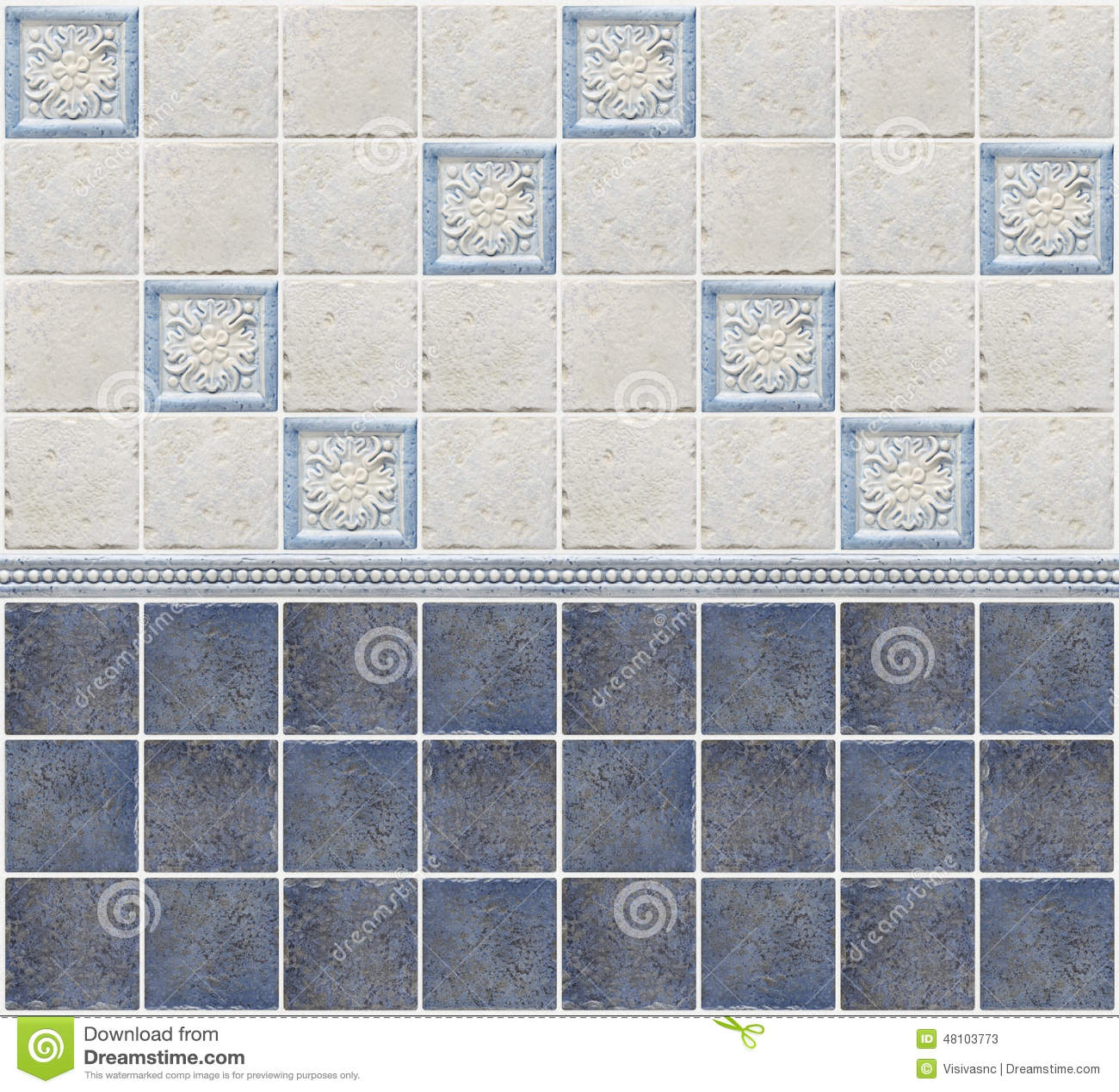 Mattonelle Di Marmo Blu Con Le Decorazioni Floreali Fotografia Stock - Immagine: 48103773