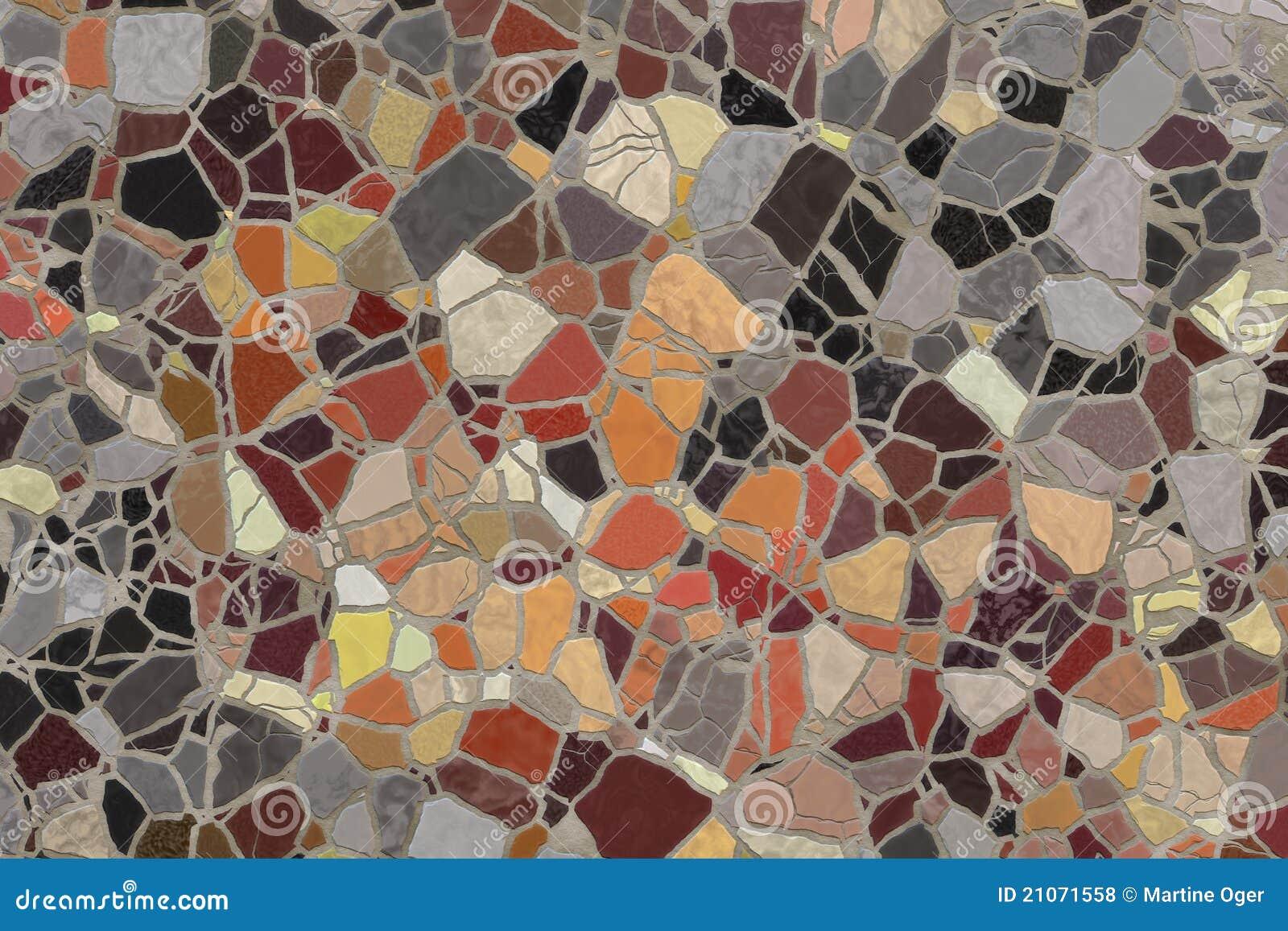 Mosaico fatto con piastrelle rotte la superficie di parete con