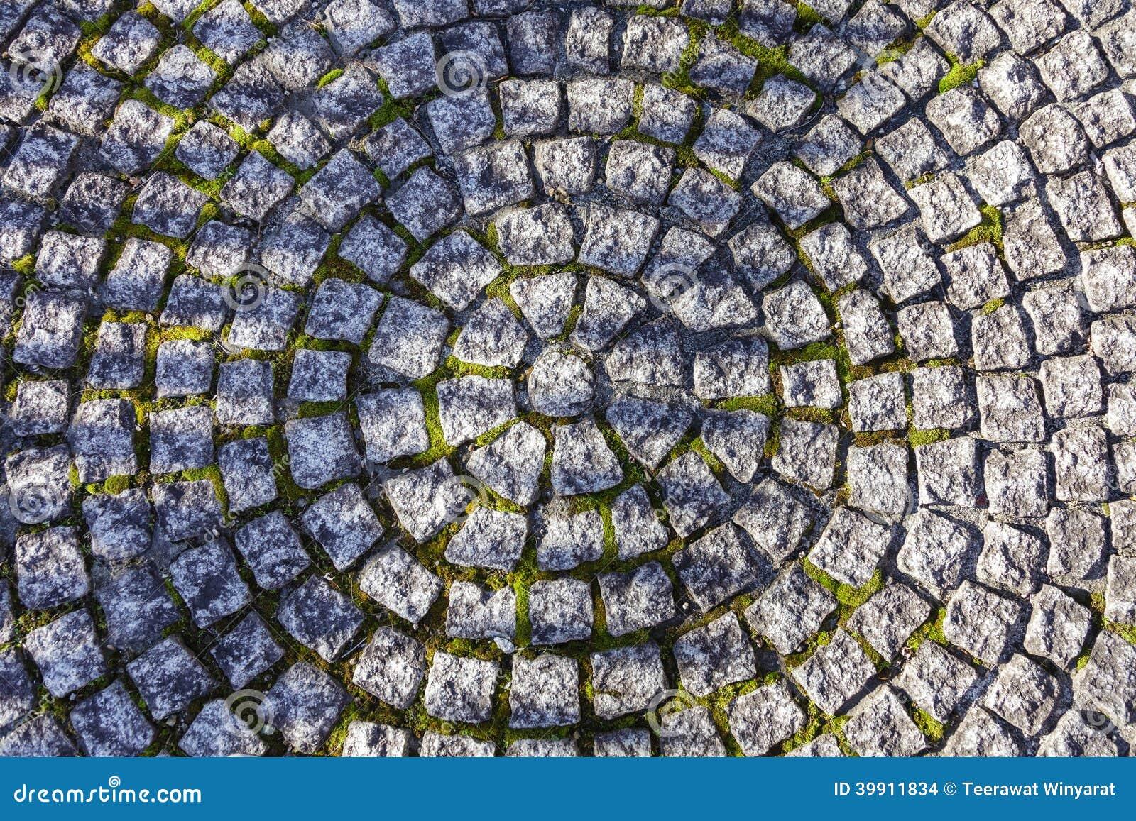 Mattonelle di pietra quadrate nel modello del cerchio sulla via