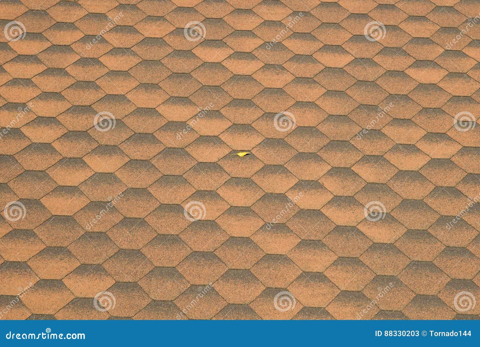 Mattonelle di tetto e foglia gialla