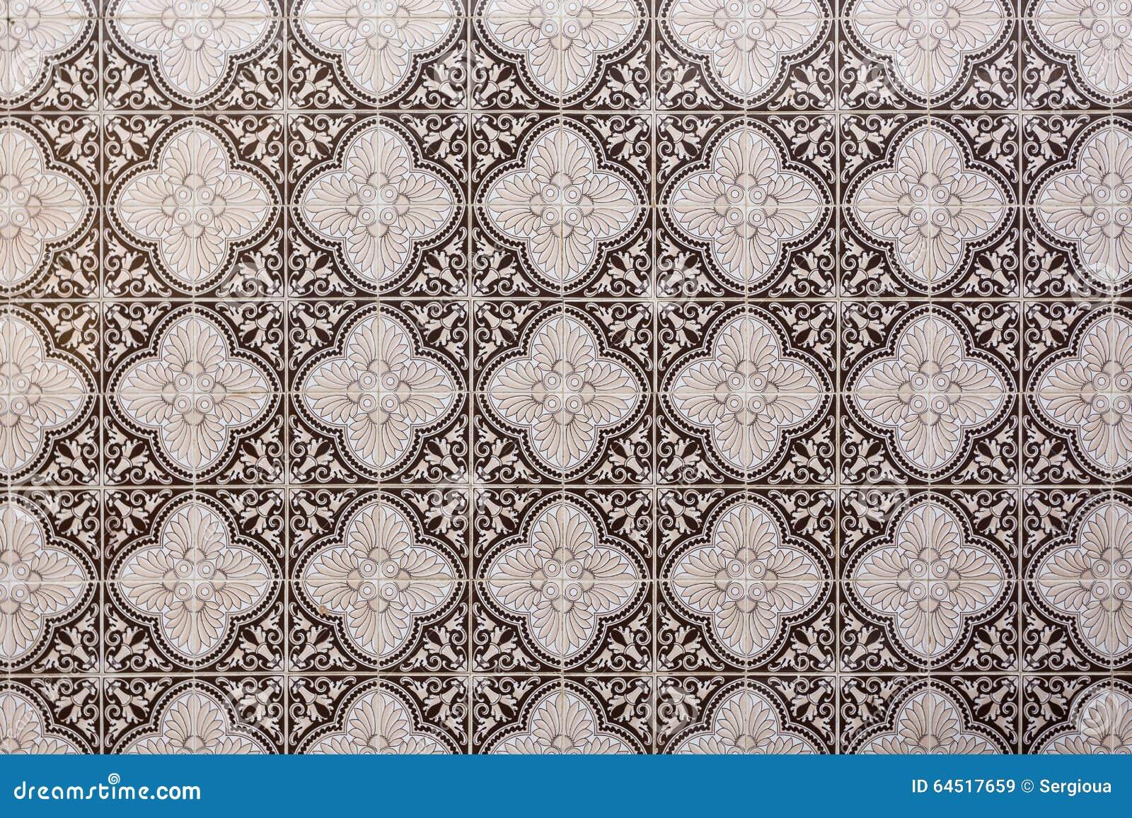 Mattonelle portoghesi decorative tradizionali marroni immagine