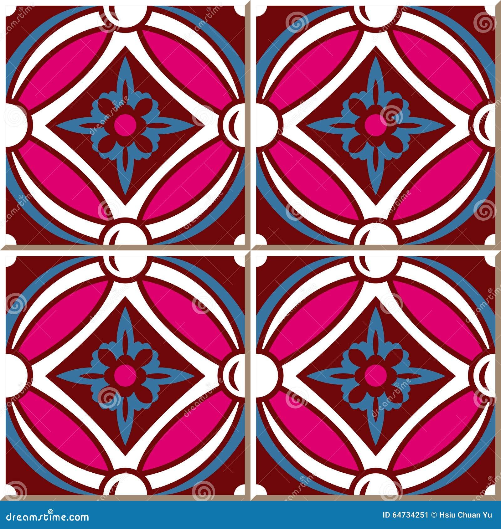 Mattonelle senza cuciture d annata della parete del fiore trasversale rotondo rosa, marocchino, portoghese