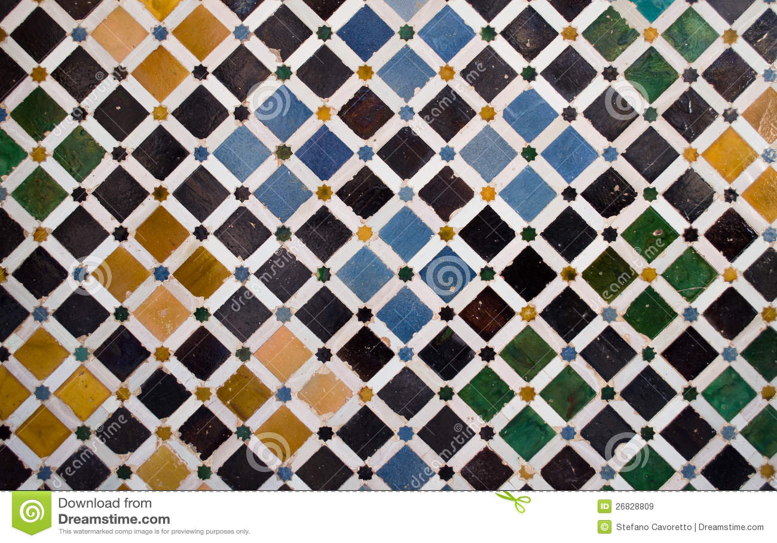Mattonelle variopinte, stile arabo, a Alhambra