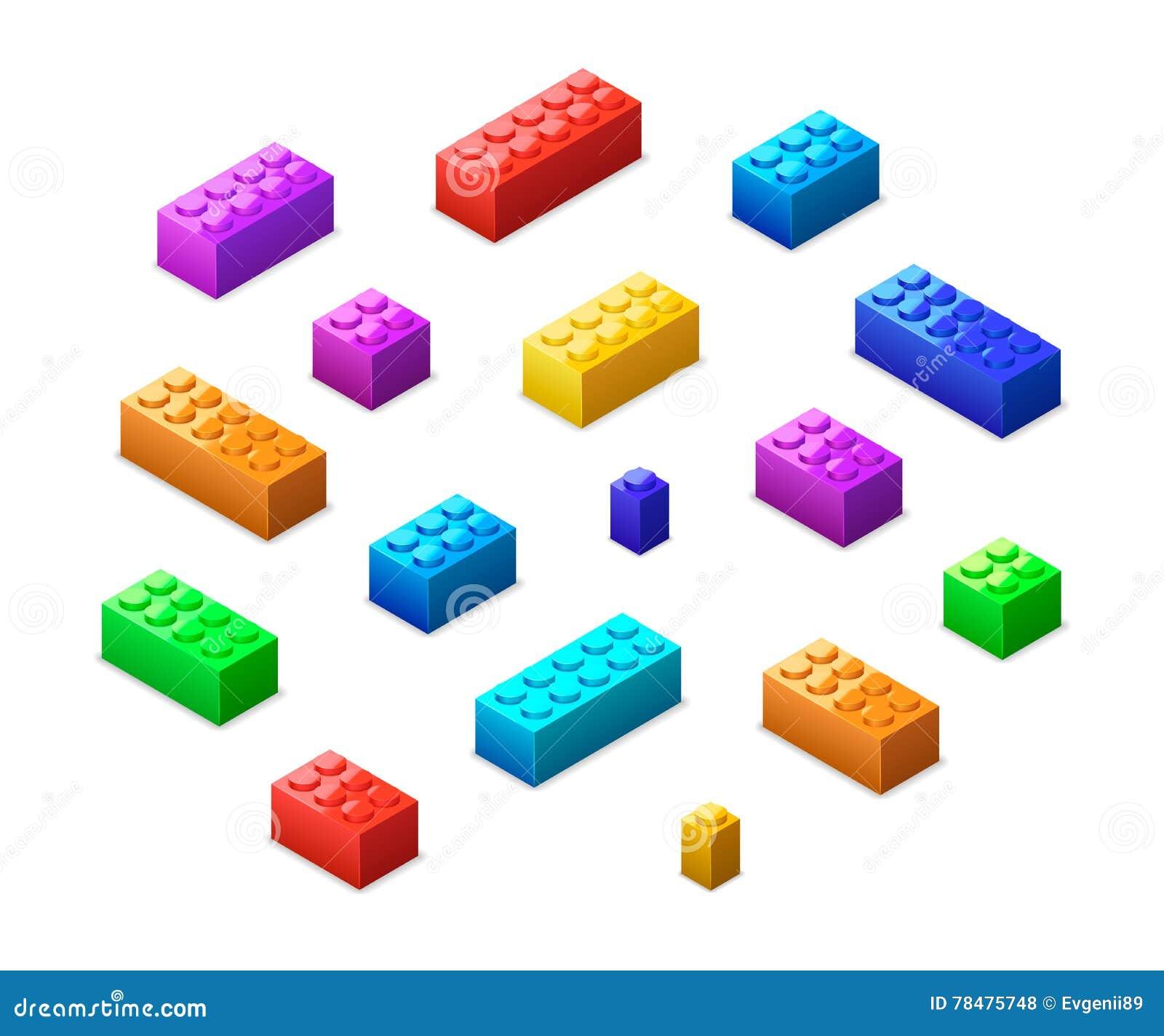 Mattoni variopinti differenti di lego nella vista isometrica isolati su bianco