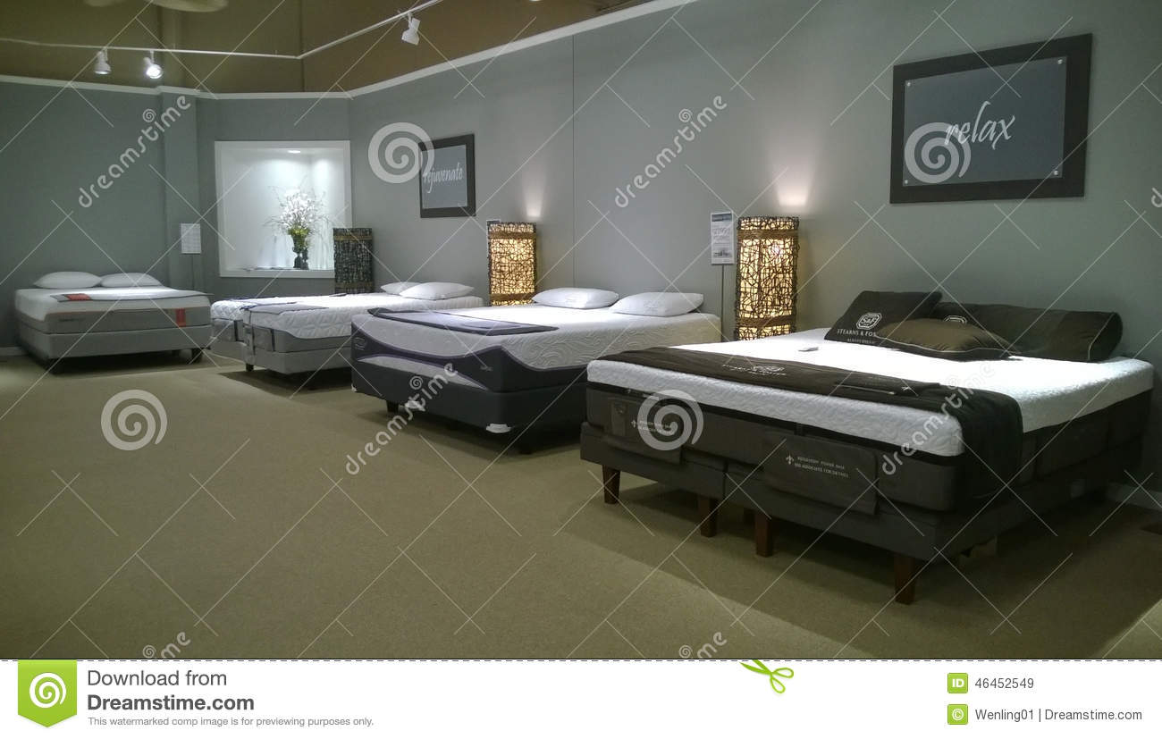 Mattress selling at ashley furniture store editorial stock for Best time for mattress sales