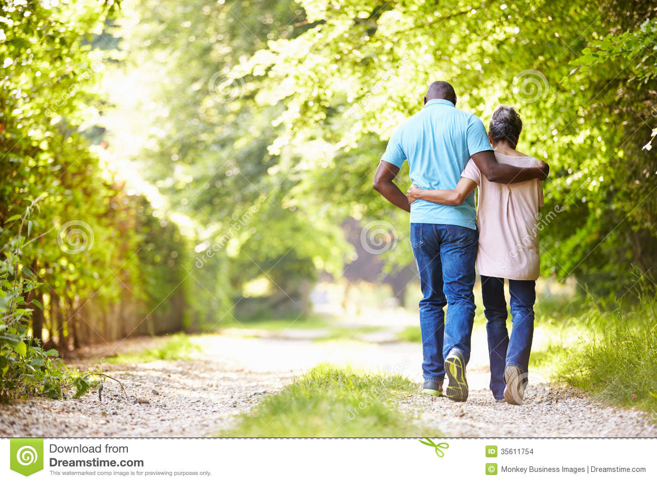 Mature African American Couple Walking In Countryside ...