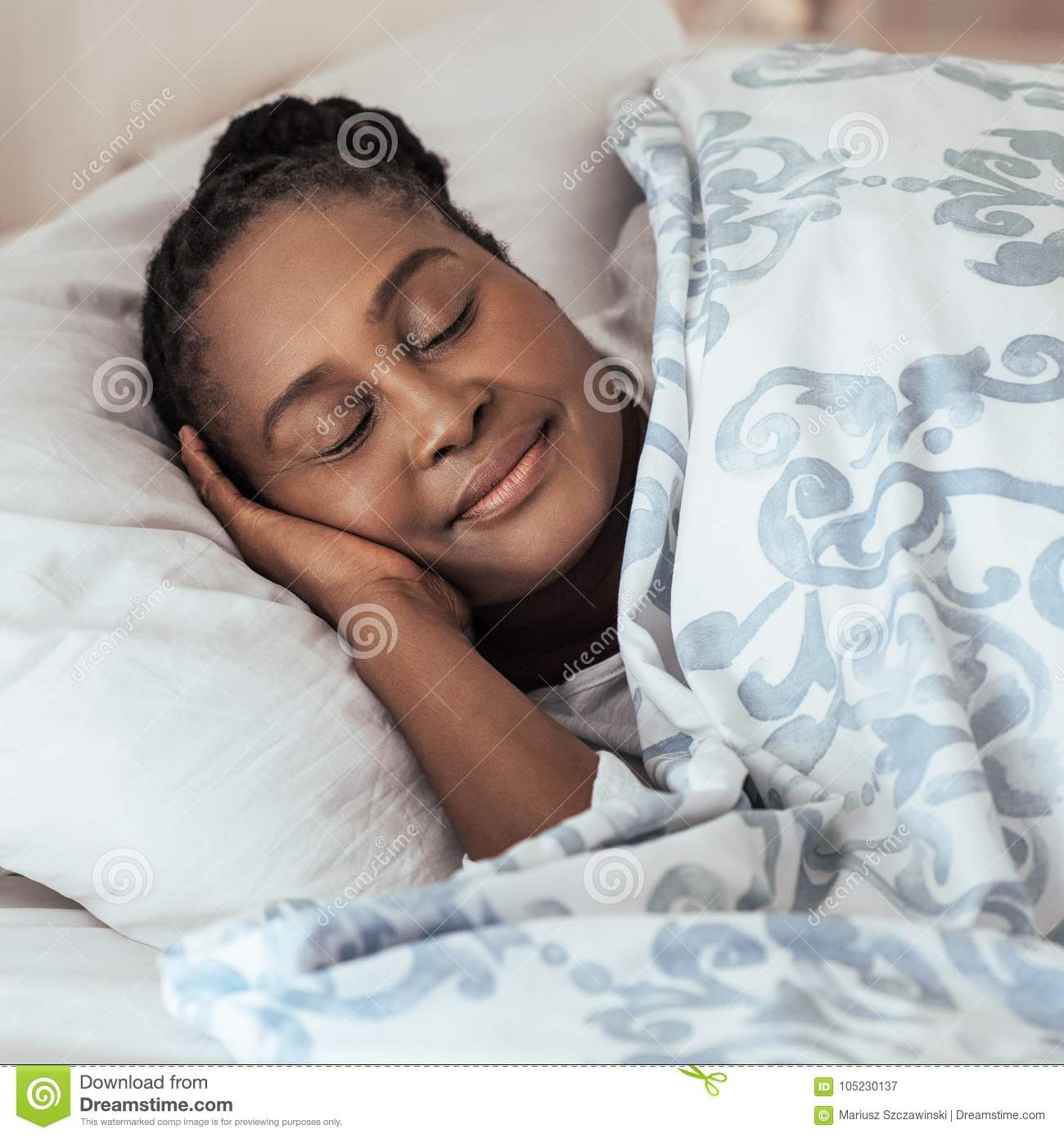 Mature African Woman Fast Asleep In Her Bed At Home Stock Image - Image Of Ethnic -9400