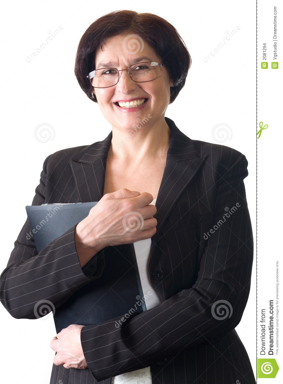 mature attractive smiling secretary or businesswoman isolated stock