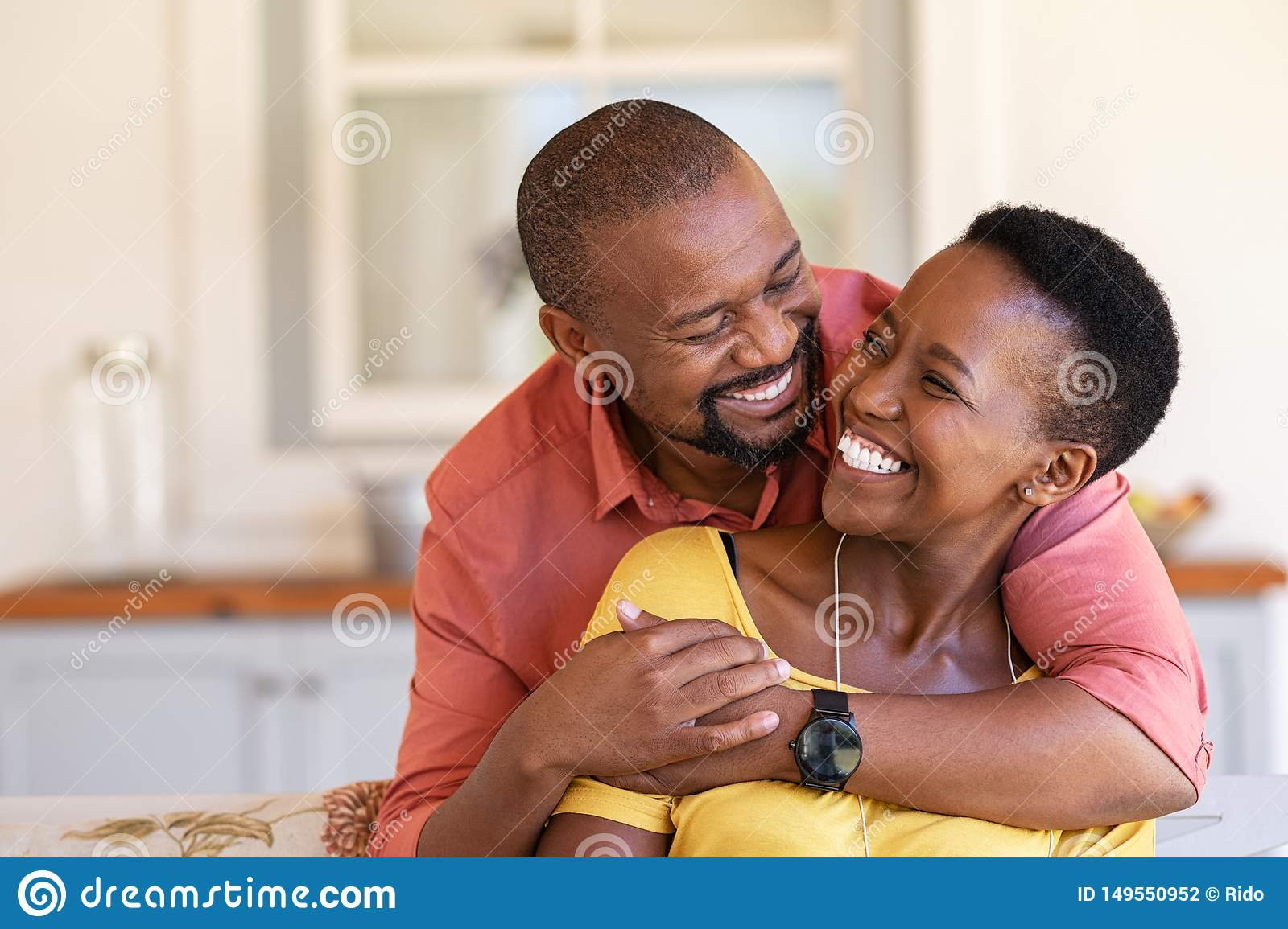 Mature Black Couple In Love Laughing Stock Photo Image Of Couple Looking 149550952