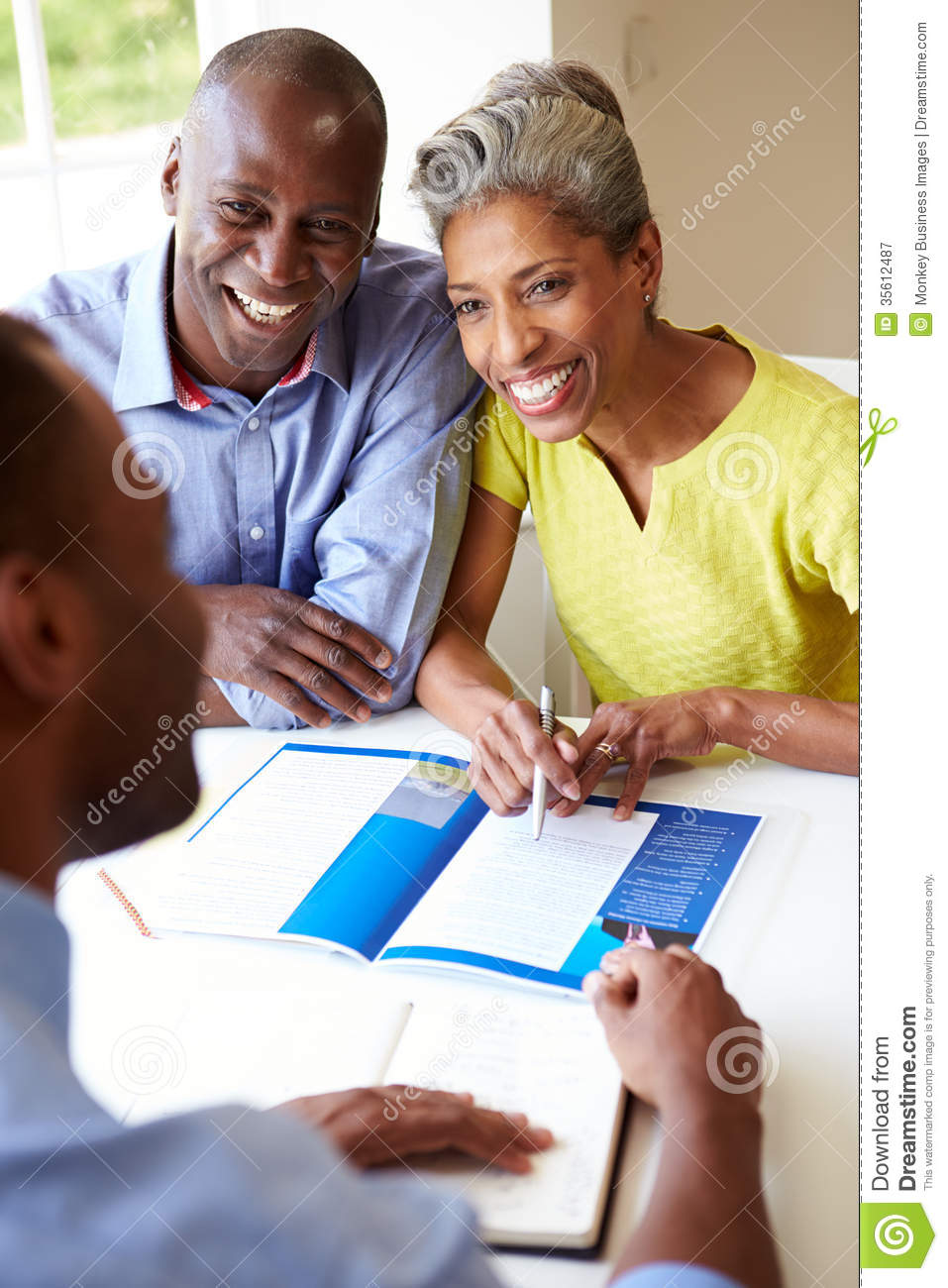 Download Mature Black Couple Meeting With Financial Advisor At Home Stock Image - Image of finance, couple: 35612487