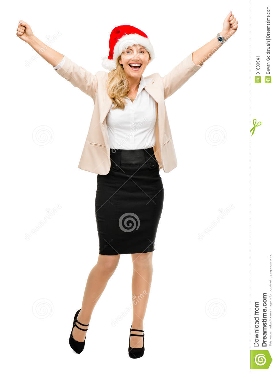 Mature business woman wearing santa hat christmas smiling isolat stock