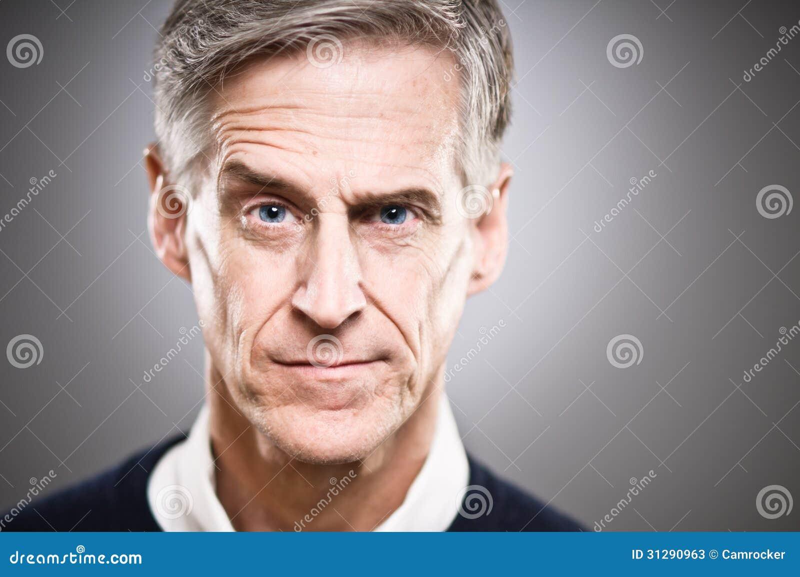 Mature Caucasian Man With Raised Eyebrow Portrait Stock Image