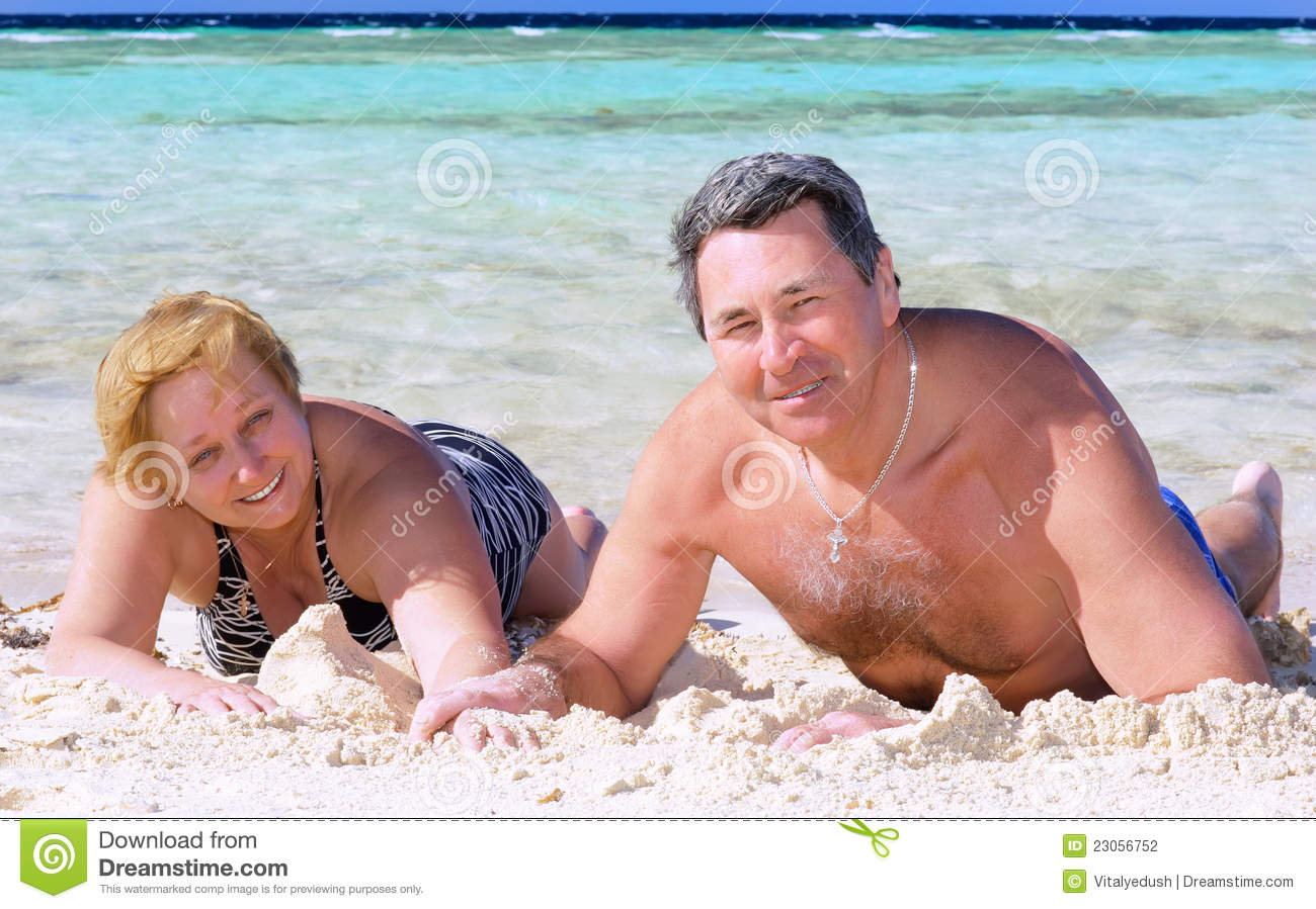 Mature couple nude beach