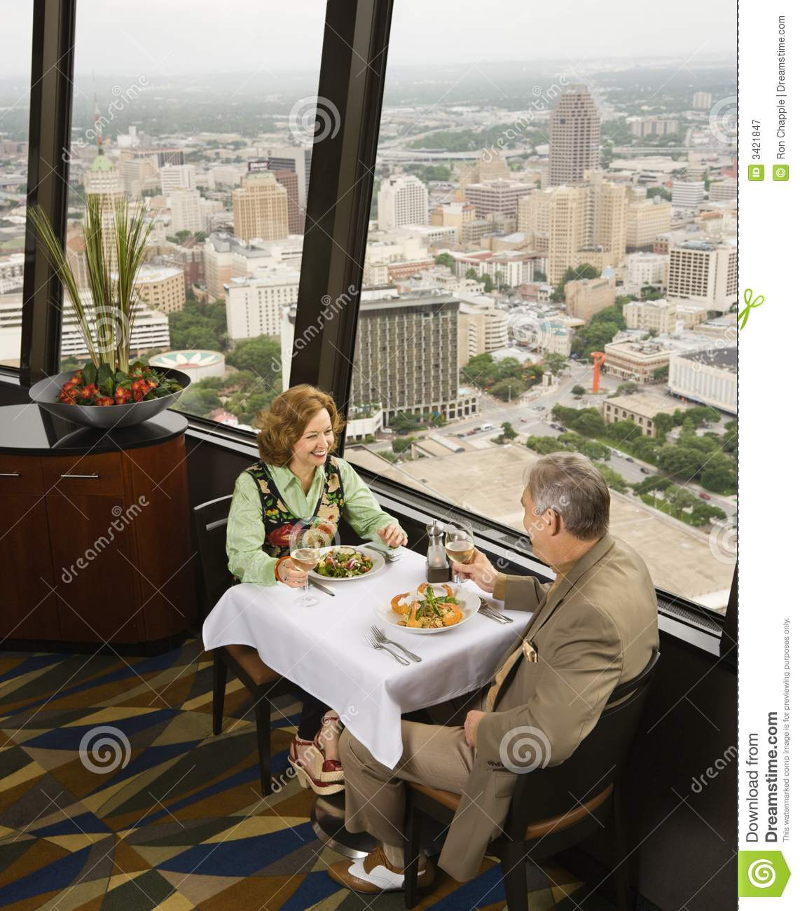 Mature couple dining.