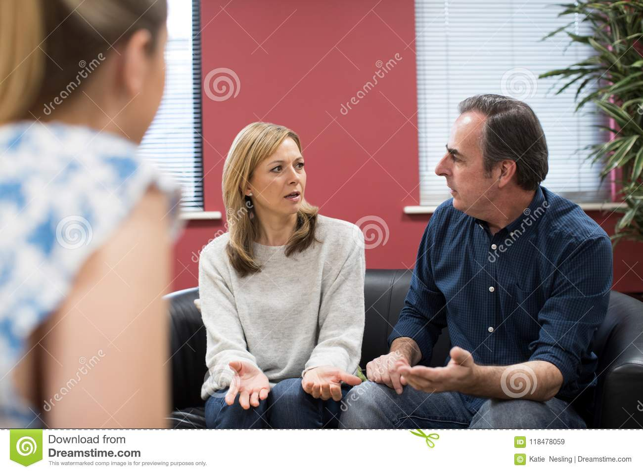 Mature Couple Discussing Problems With Relationship Counselor Stock