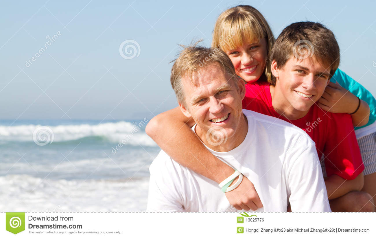 Mature father and teen kids