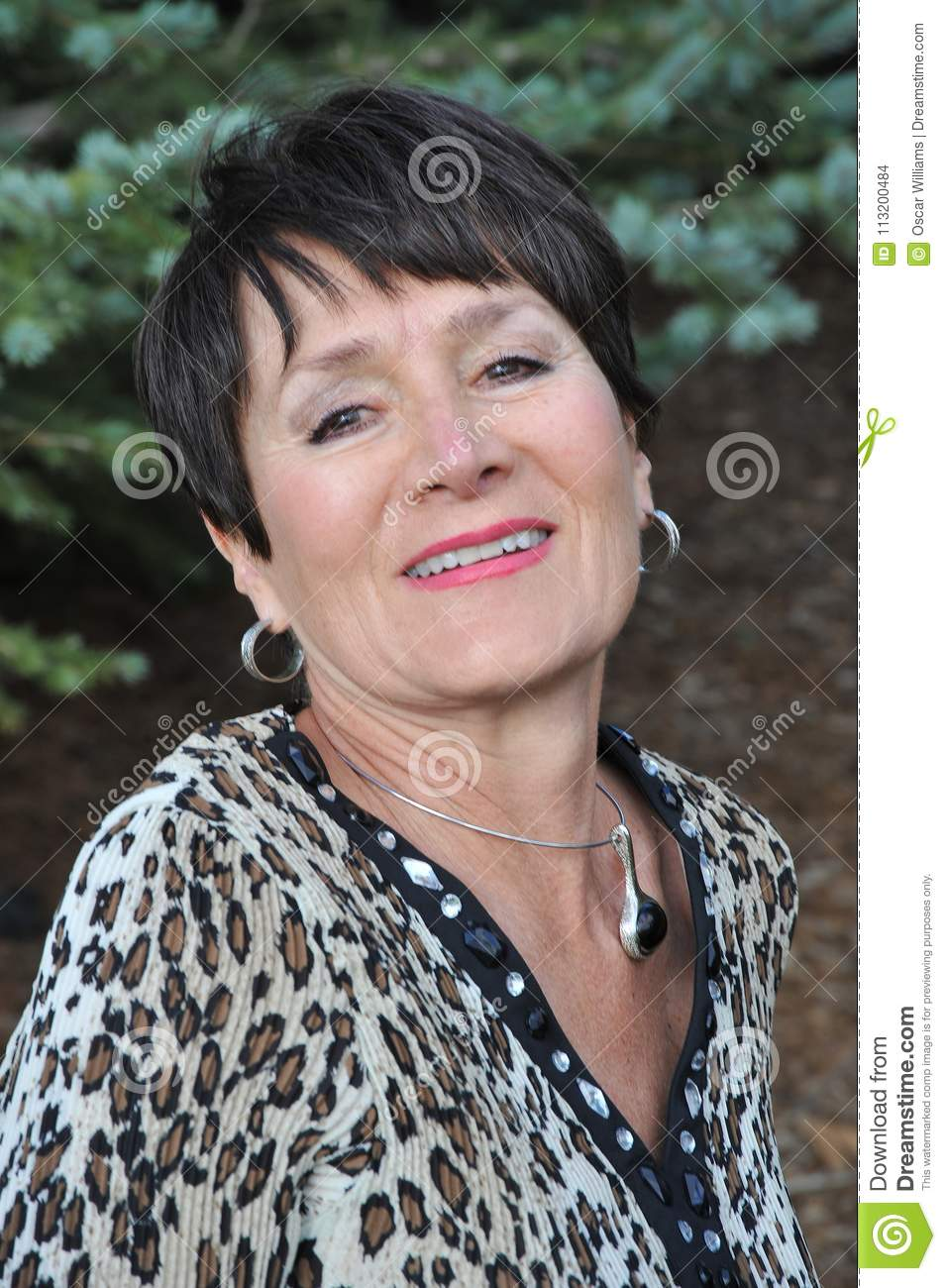 mature female beauty expressions. stock photo - image of outdoors