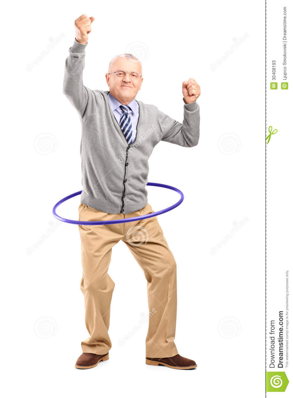 Full length portrait of a mature gentleman dancing with a hula hoop ...