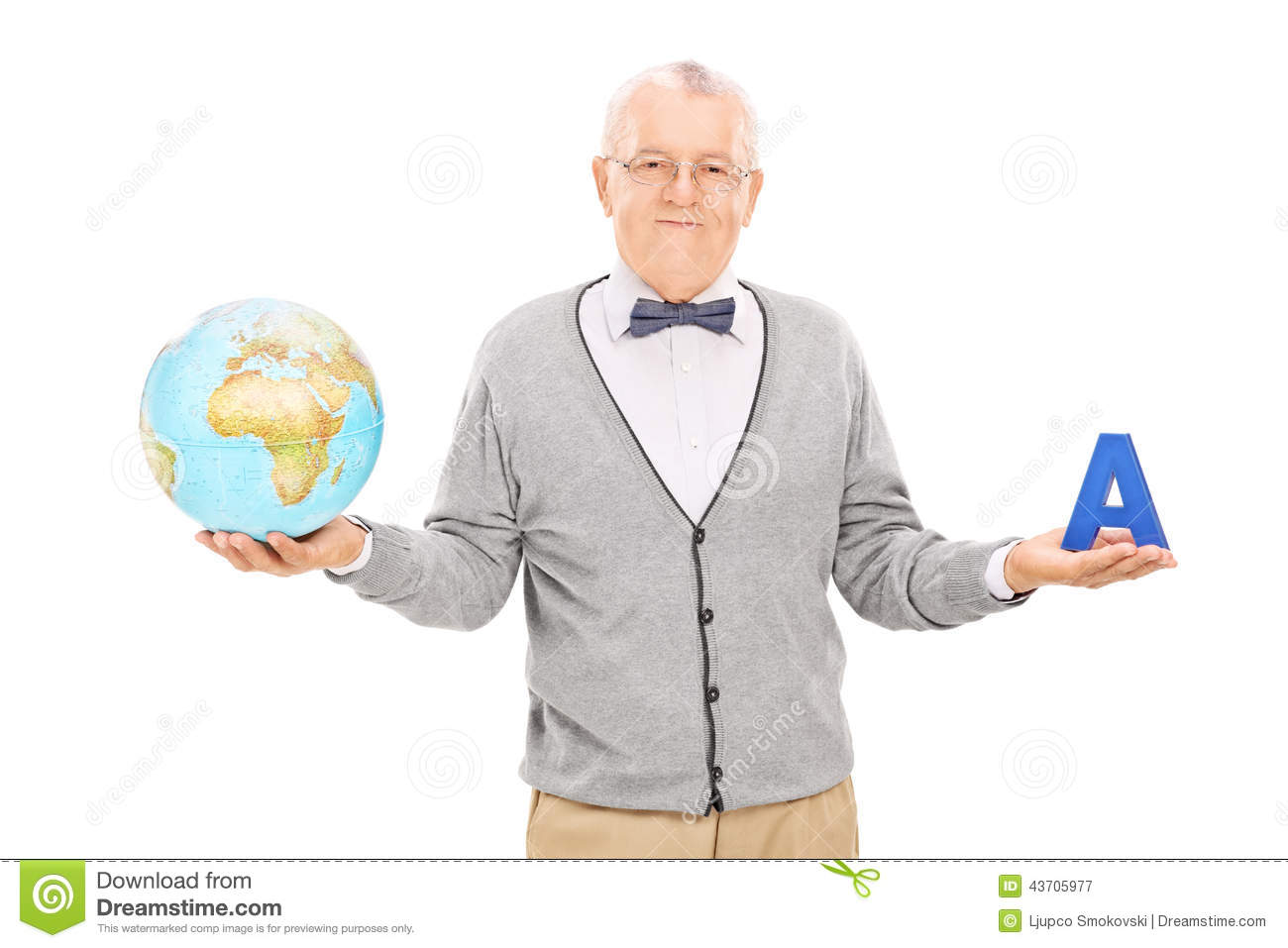 Geography teacher showing something to students on the world map ...