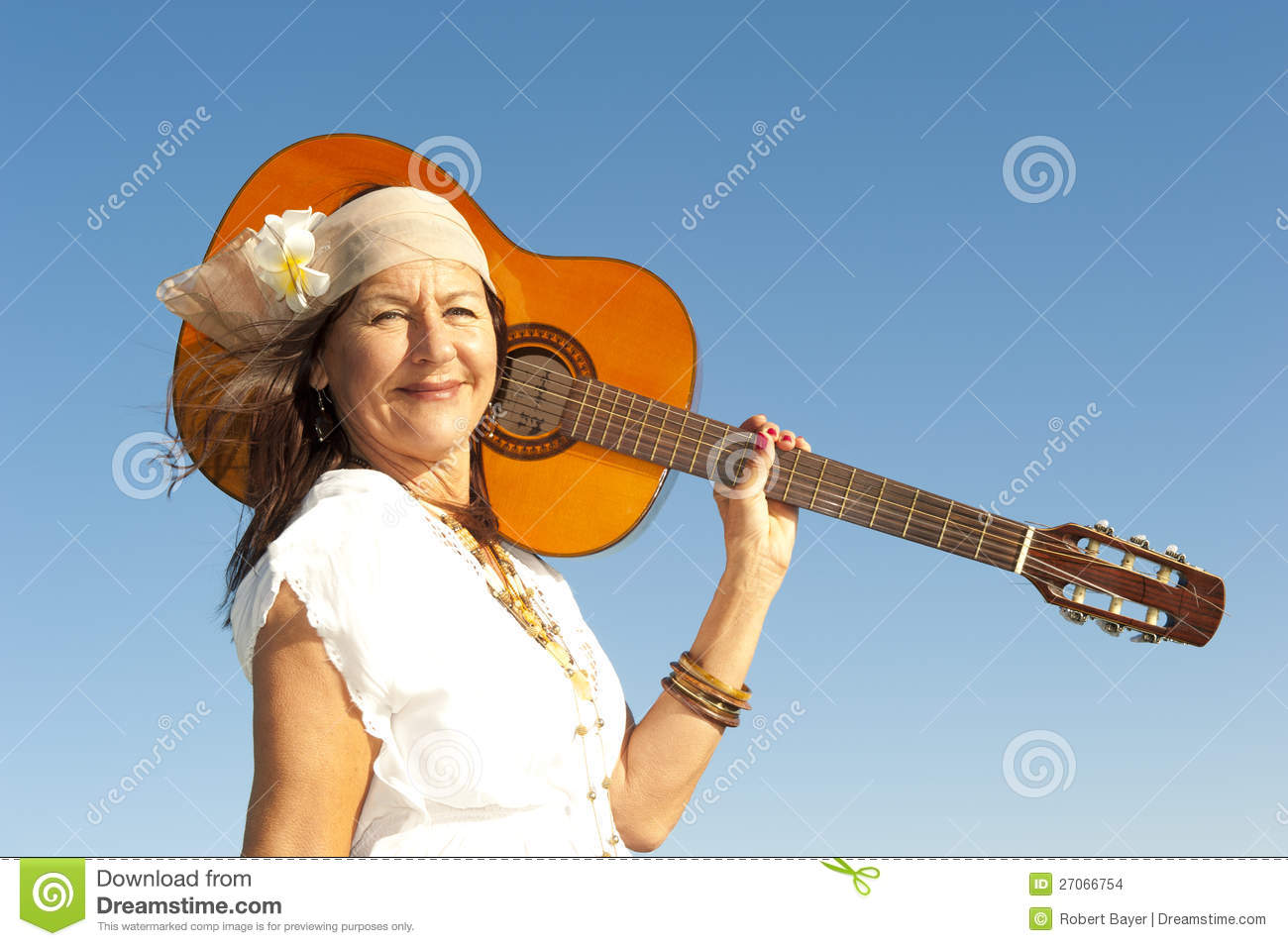 mature hippie woman with guitar stock photo - image of caucasian