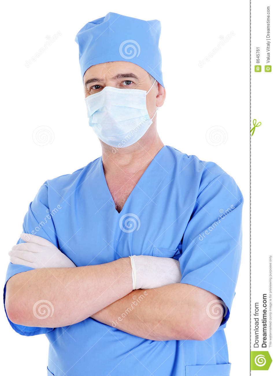 Mature Male Surgeon With Mask And Medical Gloves Stock Image - Image ...