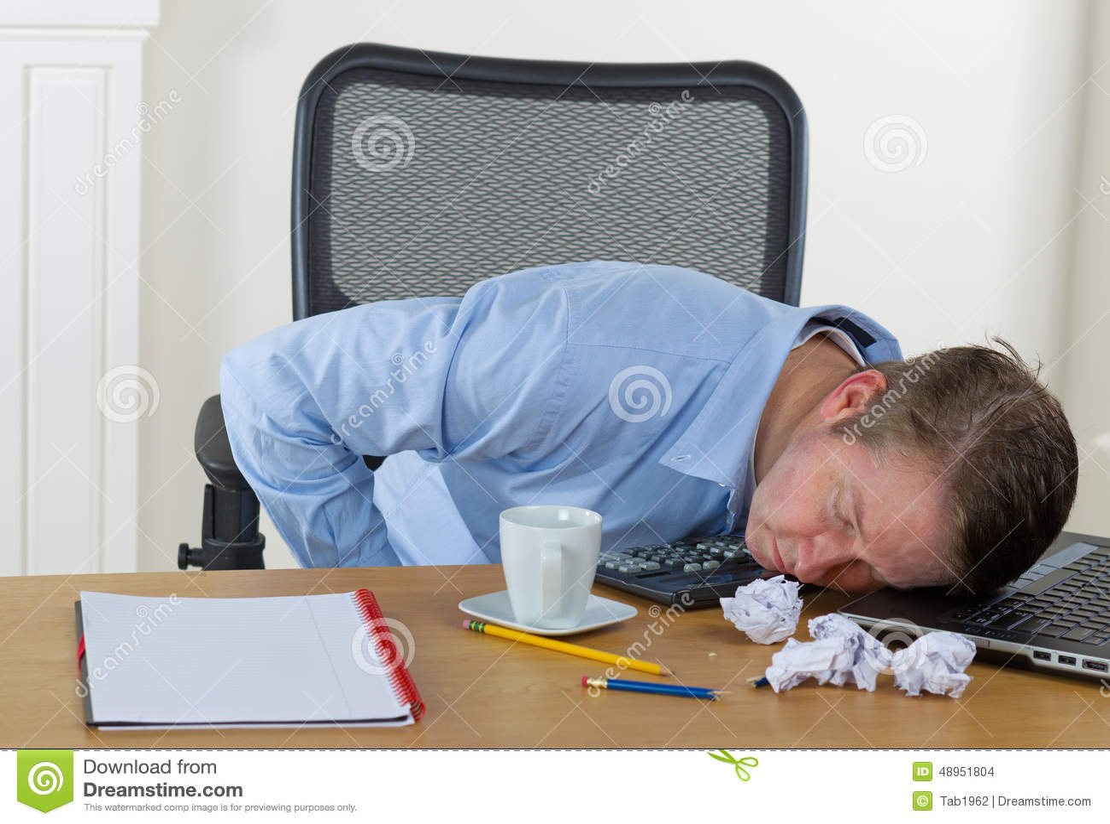 Mature Man Falling Asleep At Work Stock Photo - Image: 48951804