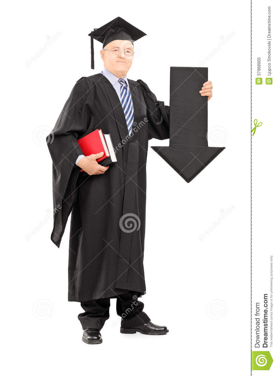 Mature Man In Graduation Gown Holding Big Arrow Pointing Down Stock ...