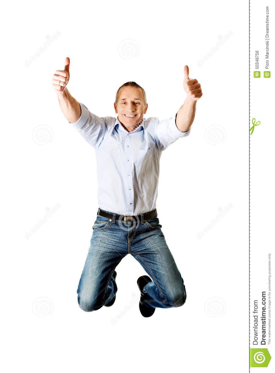 mature man jumping with thumbs up stock photo - image of caucasian
