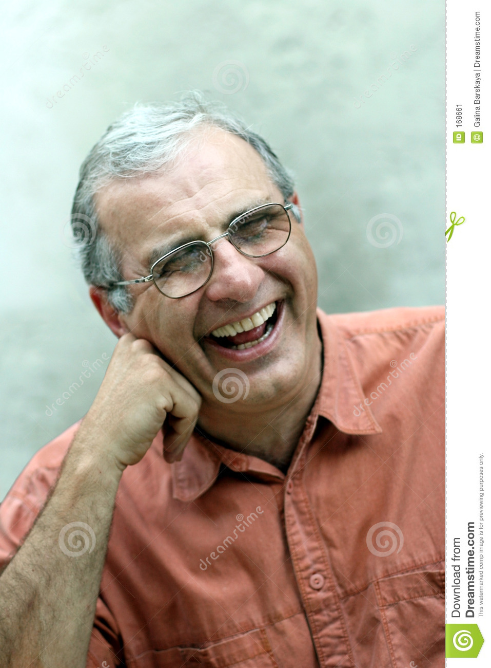 Mature man laughing