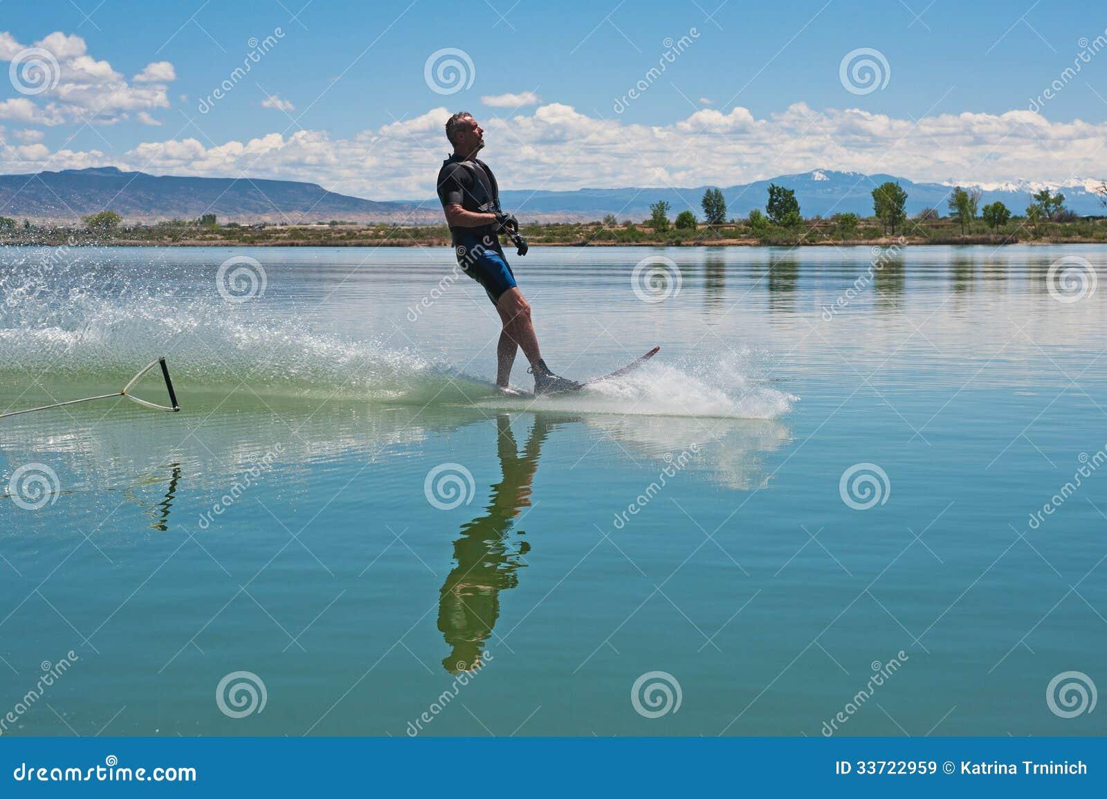 ... Man Slalom Water Skiing Royalty Free Stock Images - Image: 33722959