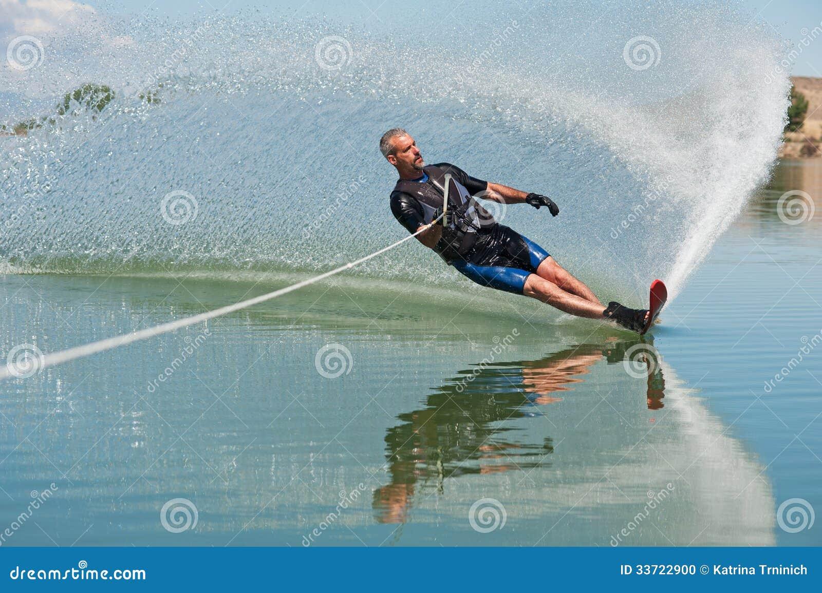 Mature Man Slalom Water Skiing Stock Photo Image 33722900