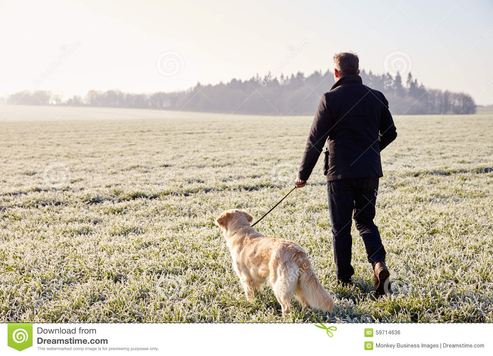 Man Walking Dog : Man walking dog stock photography cartoondealer