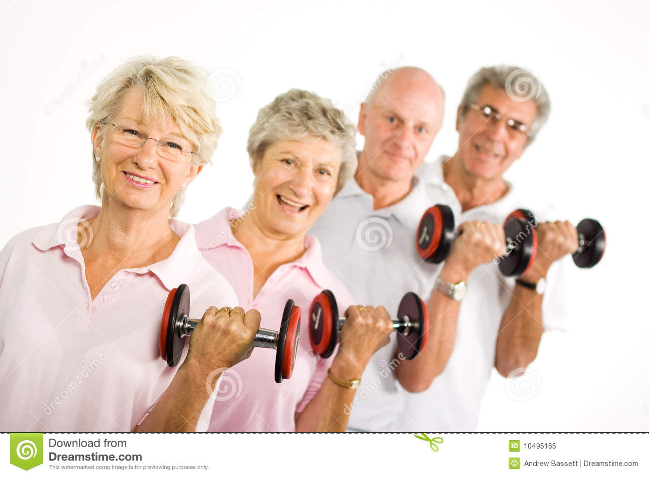 mature older people lifting weights royalty free stock