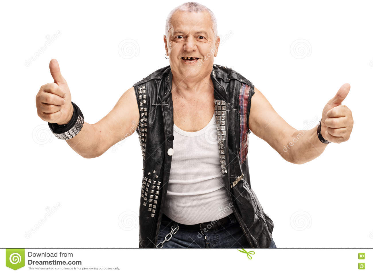 mature punk giving thumbs up stock image - image of content