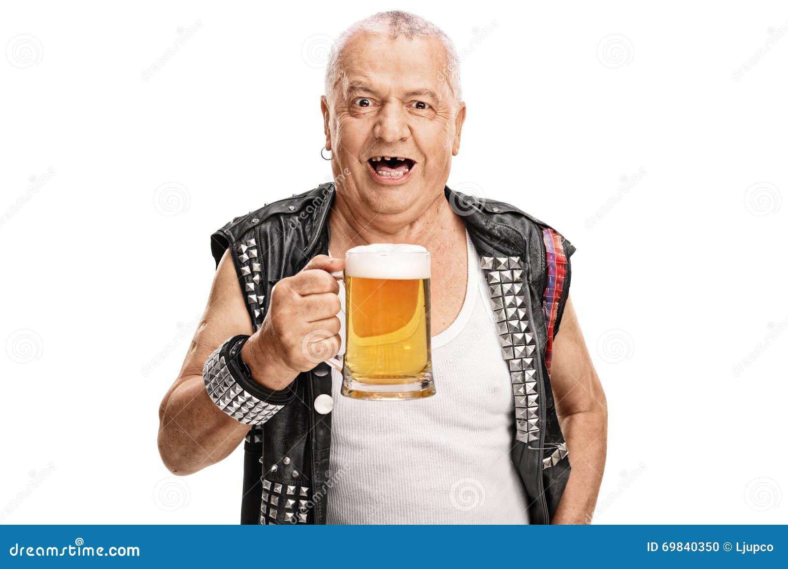 Mature Punk Rocker Holding A Pint Of Beer Stock Photo -8746