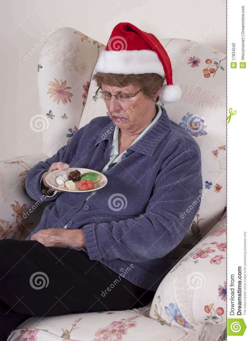 Mature Woman With Christmas Hat And