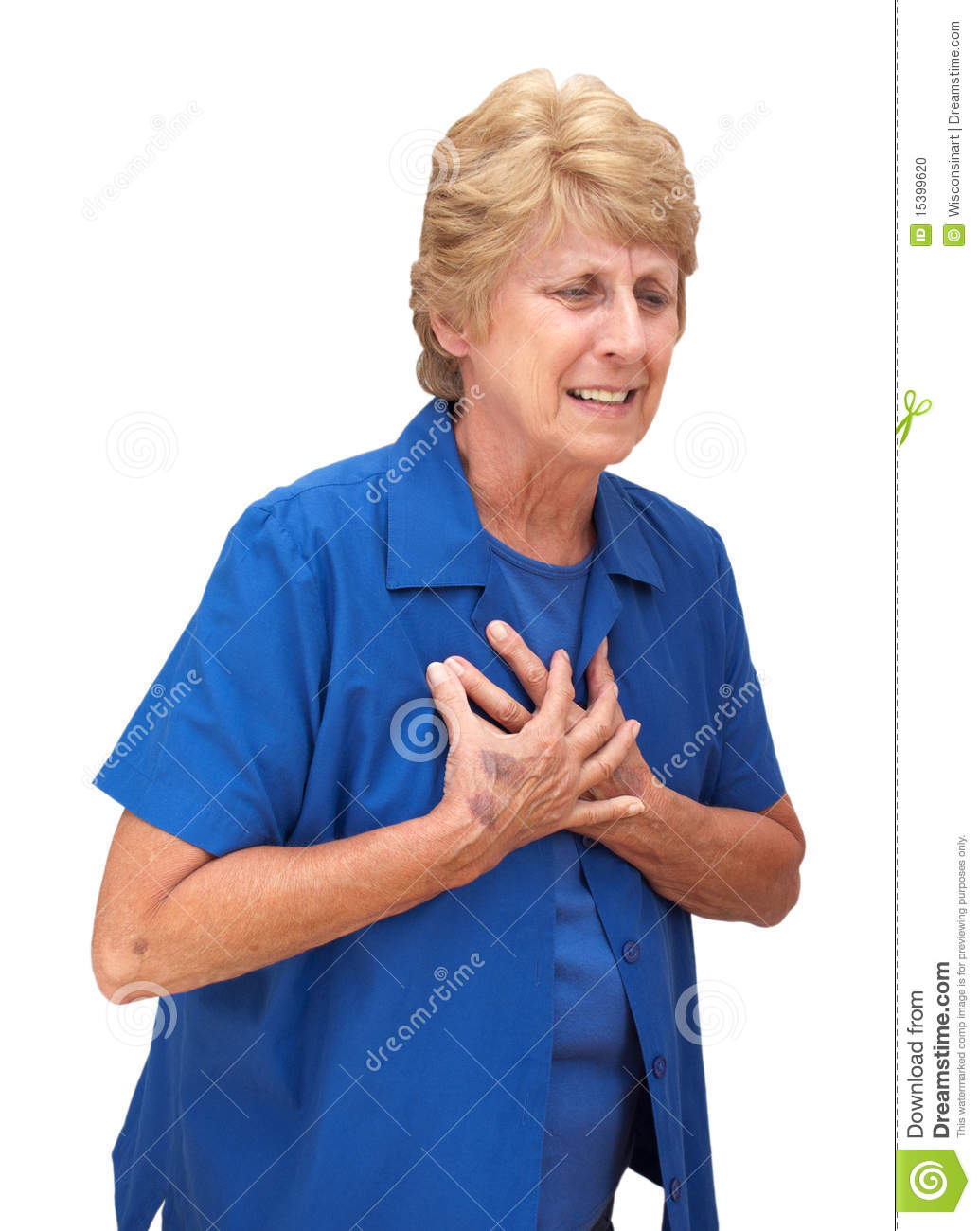 Mature Senior Woman Heart Chest Pains Isolated