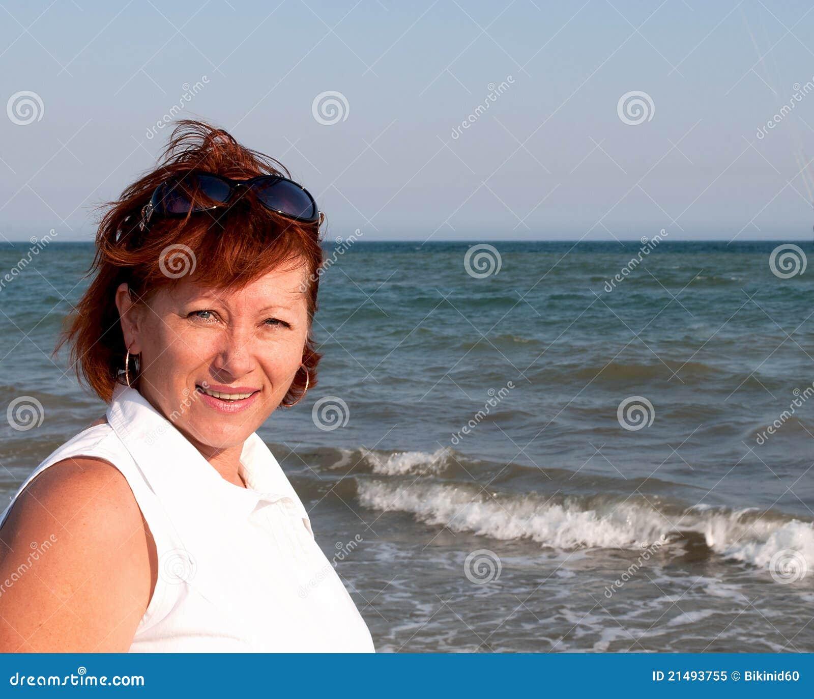 Happy Beautiful Woman Enjoying At Beach Stock Photo: Mature Woman. Stock Image. Image Of Sand, Outdoor, Healthy