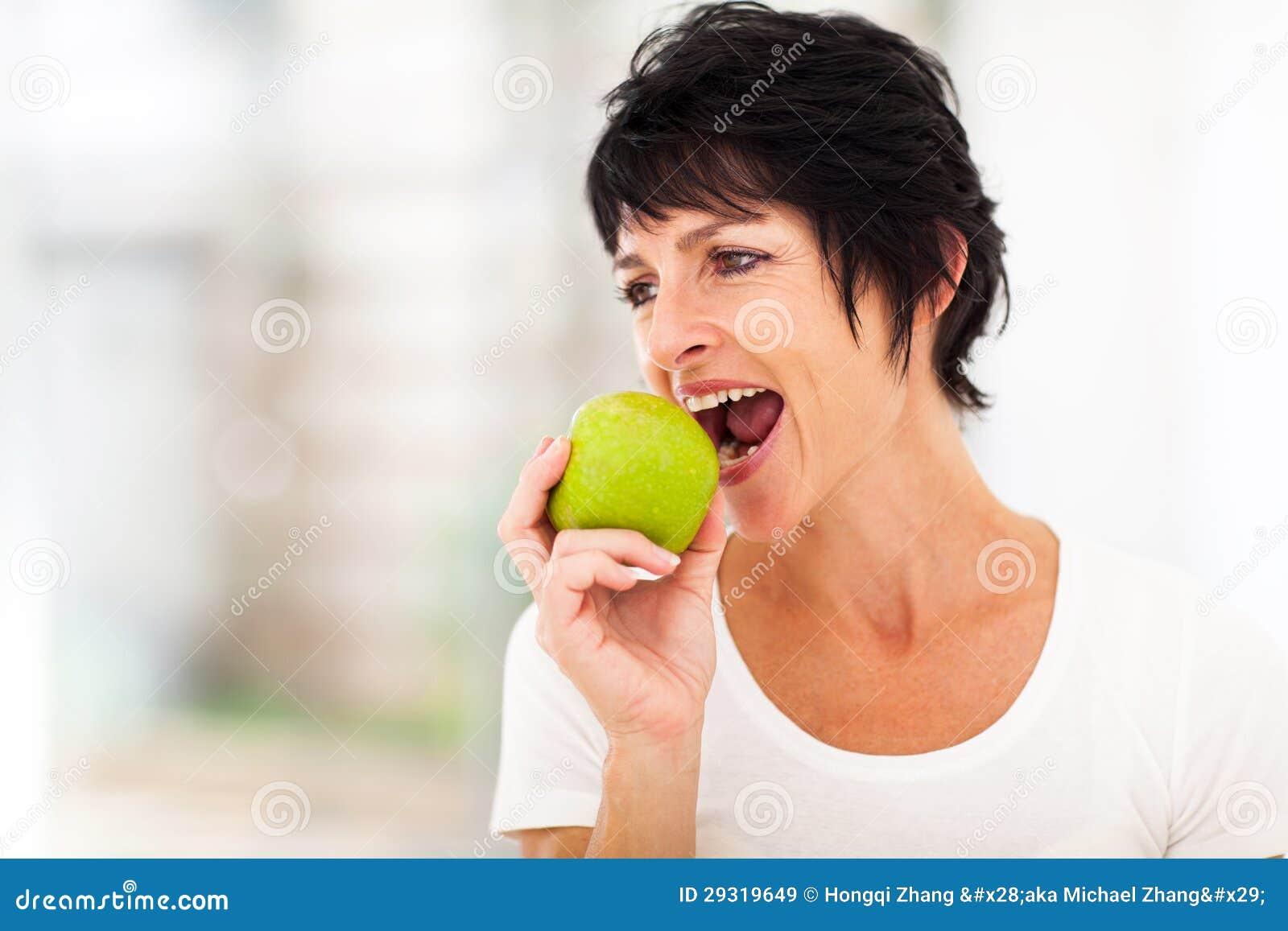 Mature Woman Apple Stock Image Image Of Caucasian, Lady - 29319649-7312