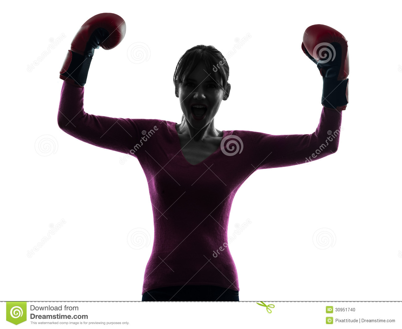 mature woman with boxing gloves silhouette stock photo image of