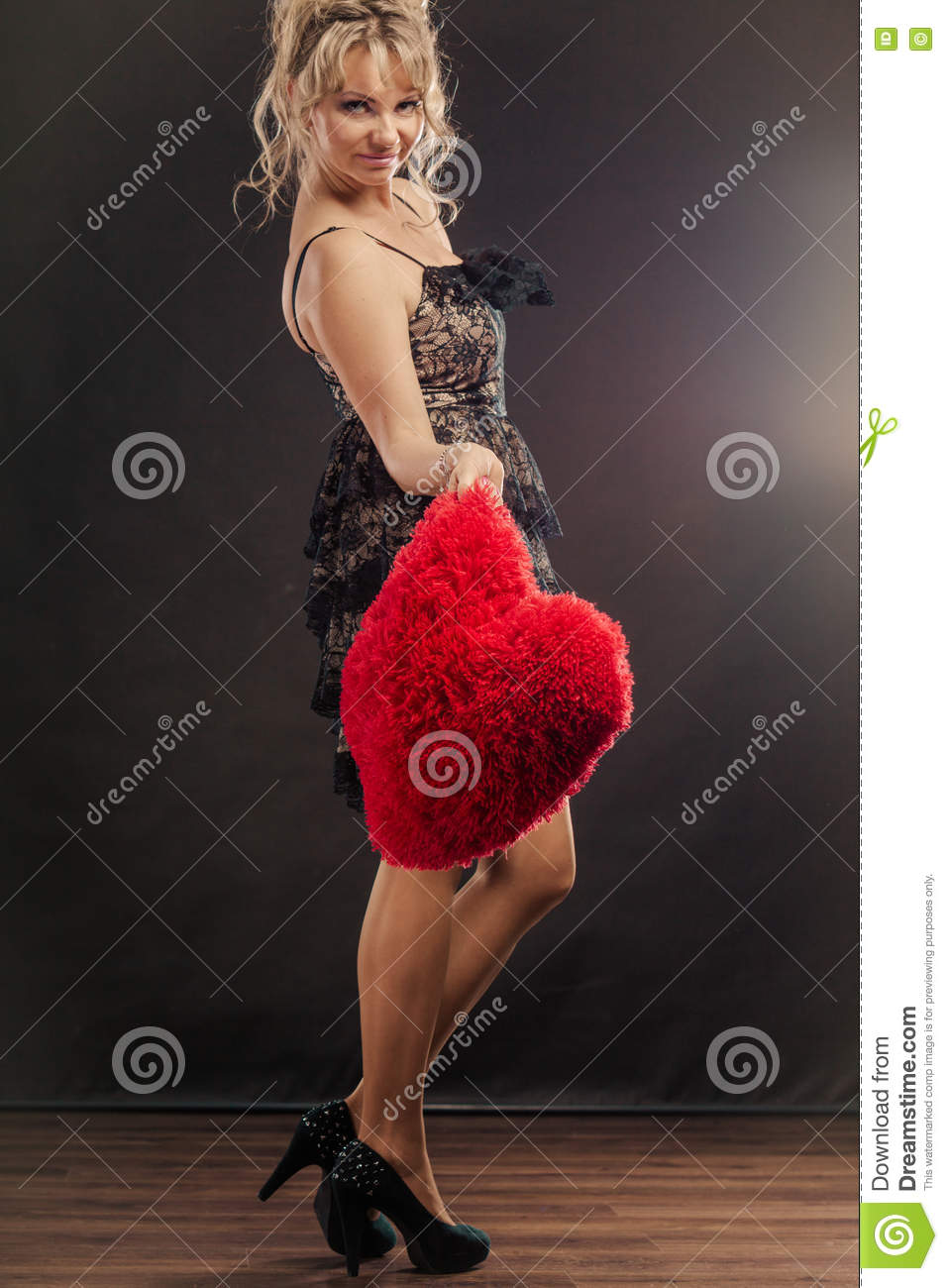 mature woman holds big red heart stock image - image of sensual