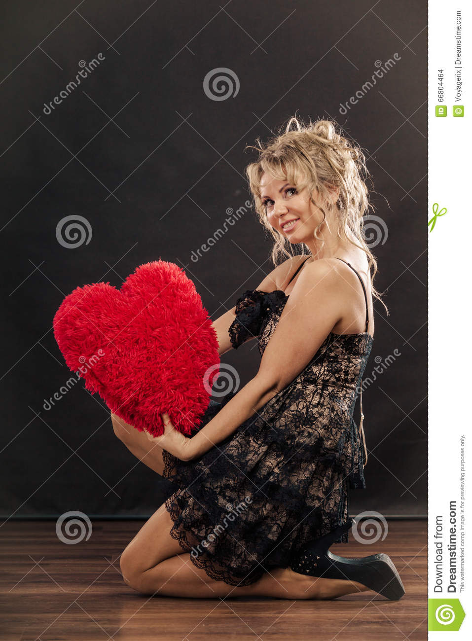 mature woman hug big red heart stock photo - image of love, black