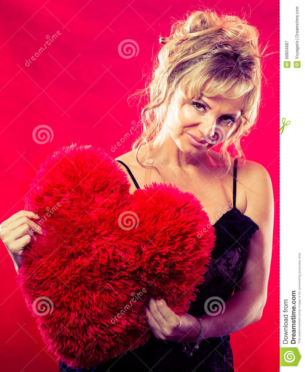 mature woman hug big red heart stock image - image of date, black