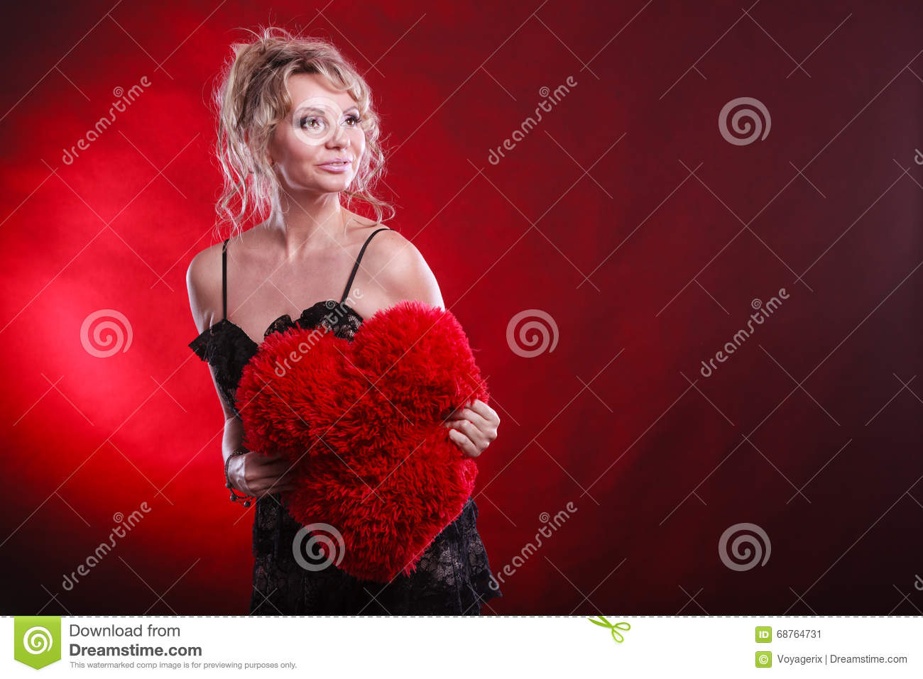mature woman hug big red heart stock image - image of gorgeous