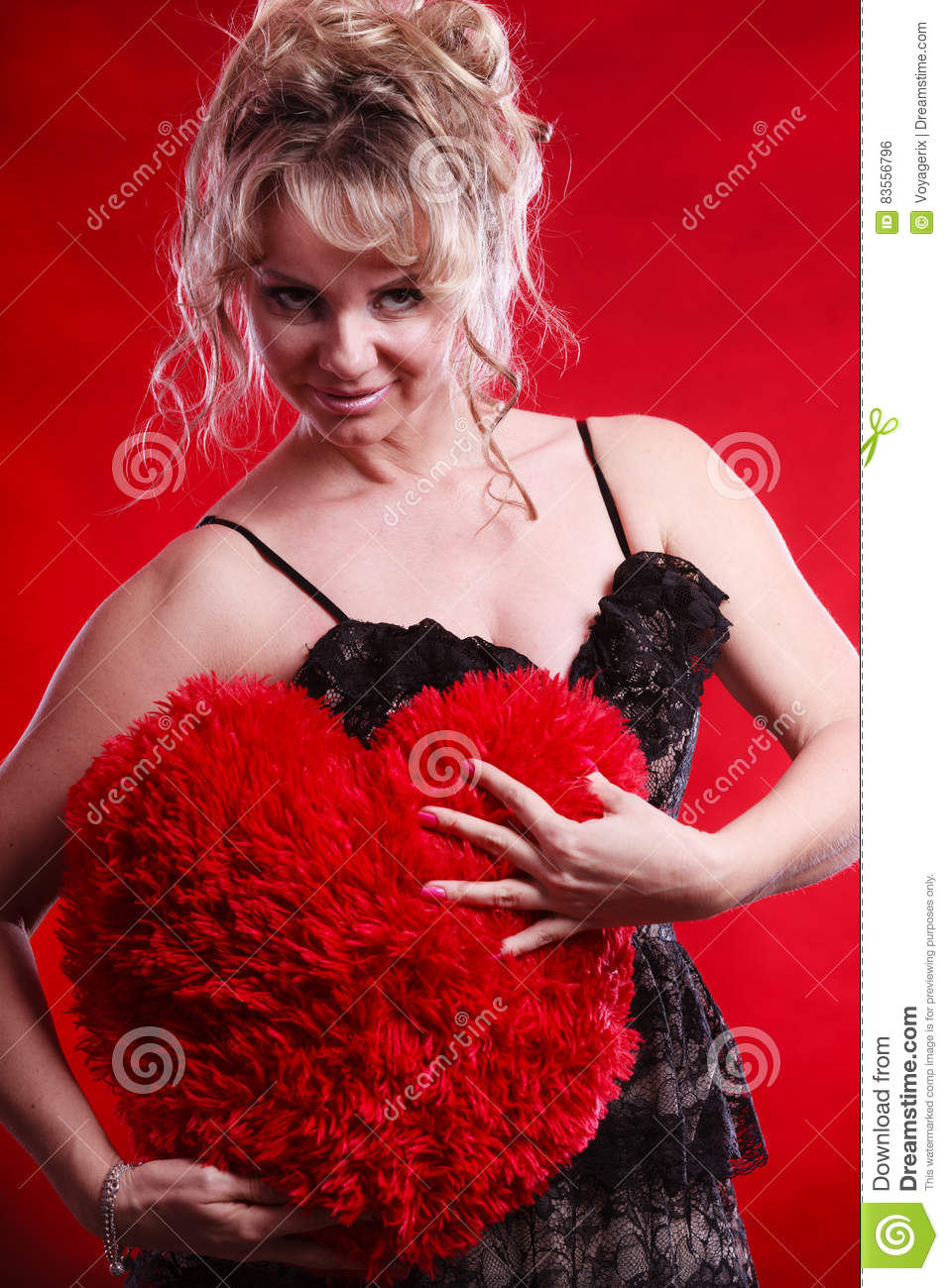 mature woman hug big red heart stock photo - image of heart